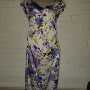 Maggy London White dress purple and Green flowers